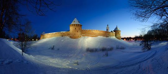 Novgorod Kremlin by winter night