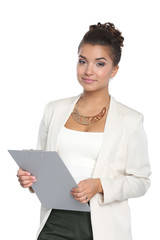 Portrait of a business woman holding folder , Isolated on white