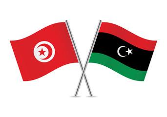 Libyan and Tunisian flags. Vector illustration.