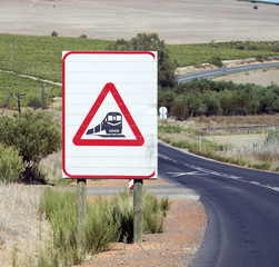 Railway crossing warning sign on roadside South Africa
