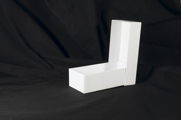 two white boxes on a black background