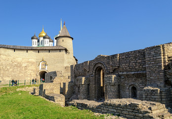 Pskov Krom and the ruins of the Church of the Nativity