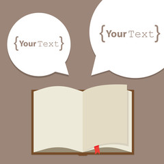 Open paper book with speech bubble