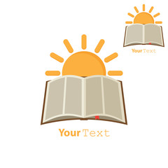 Sun over open book. Concept education