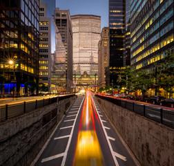 Car light trails, Park Avenue South, New York City