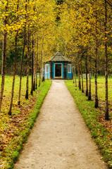 Blue wooden gazebo in the museum estate Mikhailovskoe