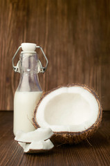 coconut and milk in a glass bottle