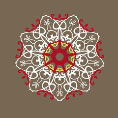 circular pattern in Indian style with white and red colors