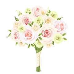 Wedding bouquet of pink, white and green roses. Vector.