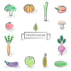Collection of stylized vegetable icons. Vector illustration in s