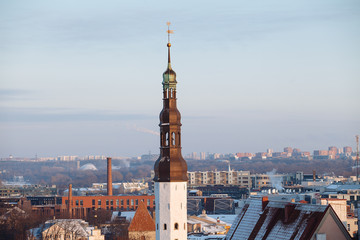 Holy spirit church tower in the old town of Tallinn