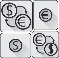 Monochromatic eur and usd icons and buttons