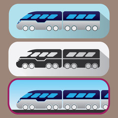 Colored icons of hi-speed train