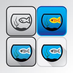 Colored icons of fishes in aquarium