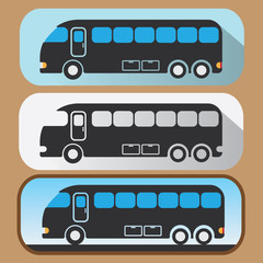 Colored travel bus icons