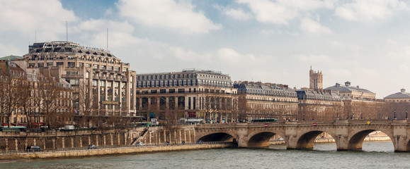 Panoramic view of rive droite, left bank of river, Paris, France