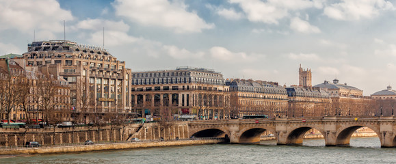 Panoramic view of rive droite, river Seine, Paris, France
