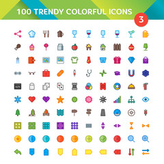100 Universal Icons in Material Design Color Palette set 3