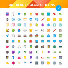 100 Universal Icons in Material Design Color Palette set 2