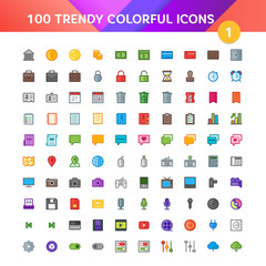 100 Universal Icons in Material Design Color Palette set 1