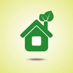 Vector logo design. the green house with eco energy