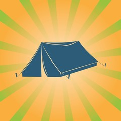 tent vector illustration on striped background