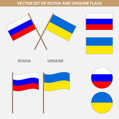 Dedicated to the conflict between Russia and Ukraine. Set of fla