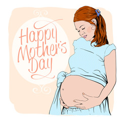 Happy mothers day card with portrait of a pregnant woman