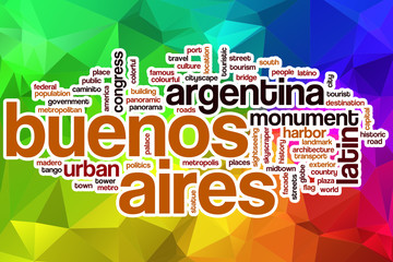 Buenos Aires word cloud with abstract background