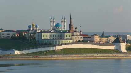 kazan kremlin with reflection in river at sunset - russia, timel