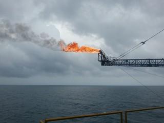 Burned flare at the oil&gas platform.