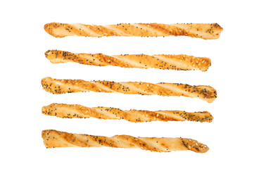 Salty sticks with sesame and poppy seeds isolated