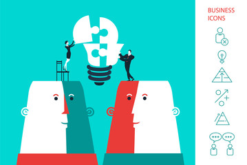 Businessman and business woman completing a bulb puzzle. Vector