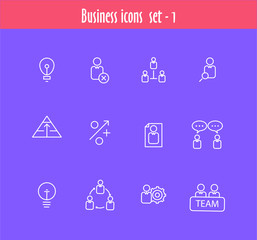 Flat line icons set of business meeting, professional occupation