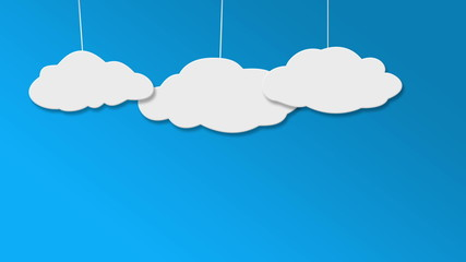 Concept cloud animation on blu background