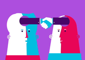 Vector Bussiness illustration. Two heads shaking hands.