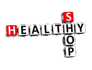 3D Crossword Shop Healthy on white background