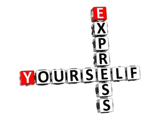 3D Crossword Express Yourself on white background