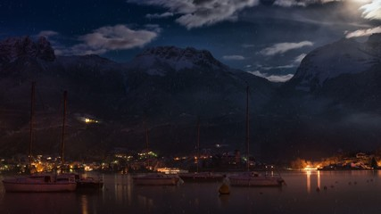 lake and mountain night in winter