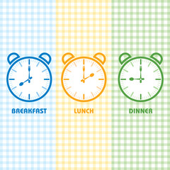 Breakfast Lunch and Dinner time stock vector