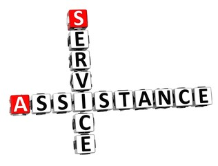 3D Crossword Assistance Service on white background