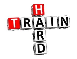 3D Crossword Train Hard on white background