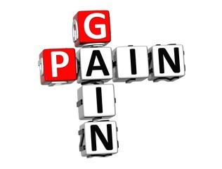 3D Crossword Pain Gain on white background