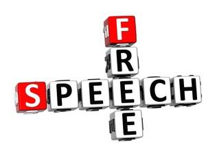 3D Crossword Free Speech on white background
