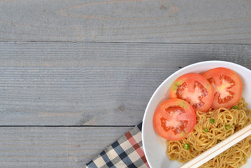 The Fried Noodle On White Bowl