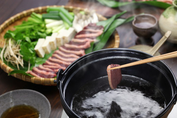 wild mallard duck hot pot, japanese one pot dish