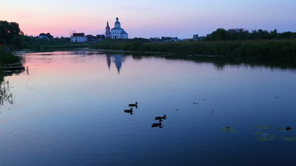 view on Kamenka river in Suzdal Russia at dusk