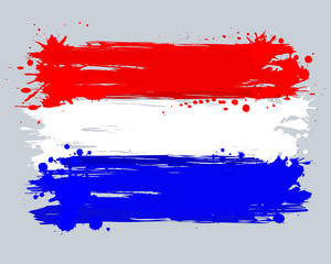 Vector flag of the Netherlands. Graffiti in grange style with br