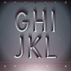 Vector Metal Embossed Font from G to L
