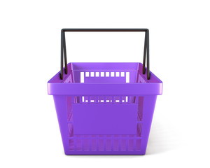 Empty plastic shopping basket clipping path